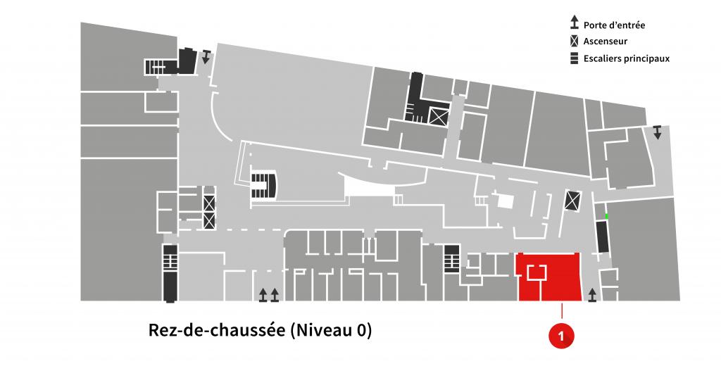 Localisation du comptoir informatique sur les plans du niveau 0 de l'Édifice La Fabrique