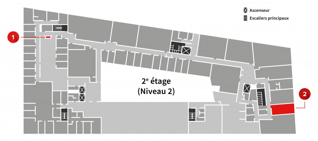 Plan du 2e étage de l'Édifice la Fabrique avec la localisation des appareils de numérisation