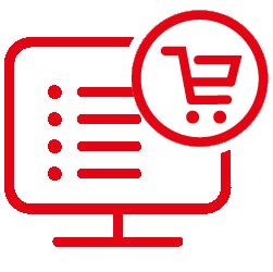 Icône d'ordinateurs avec une liste de prérequis et un panier d'achat
