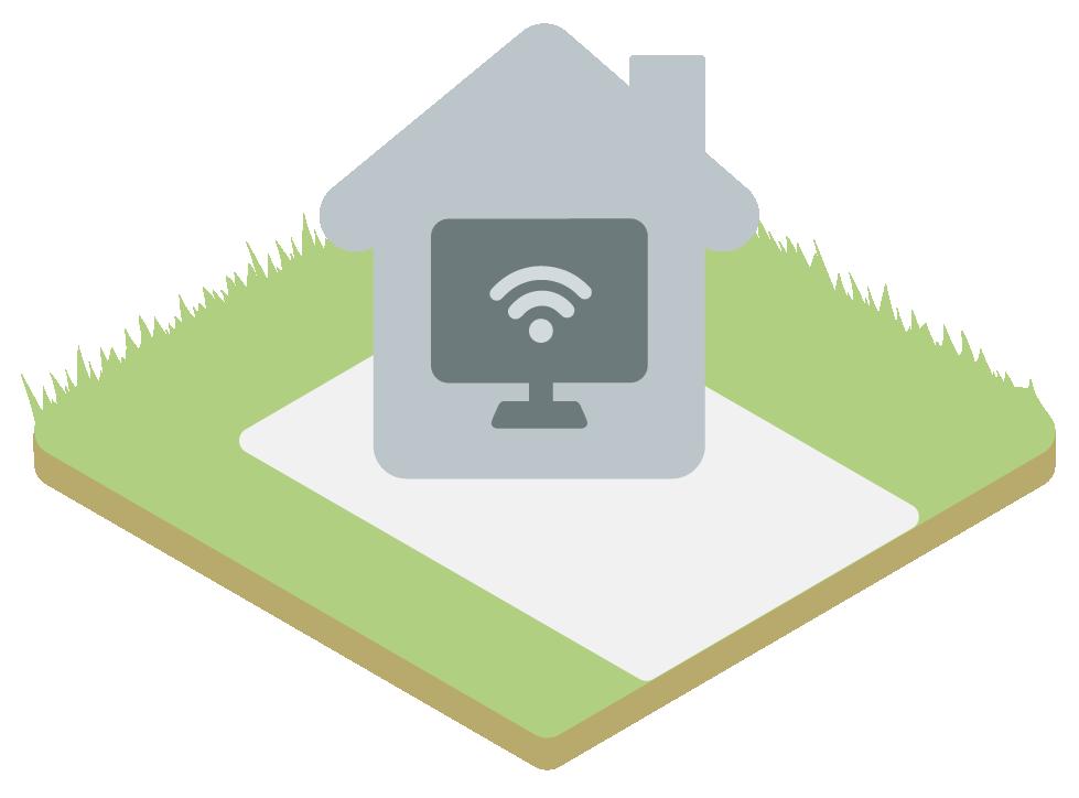 Illustration d'un ordinateur connecté de la maison