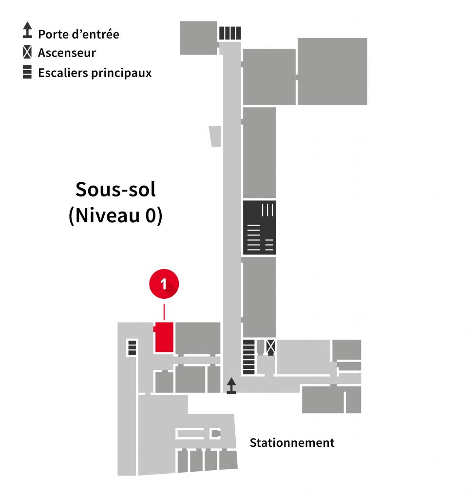 Localisation de l'imprimante au sous-sol de l'Édifice du Vieux-Séminaire de Québec