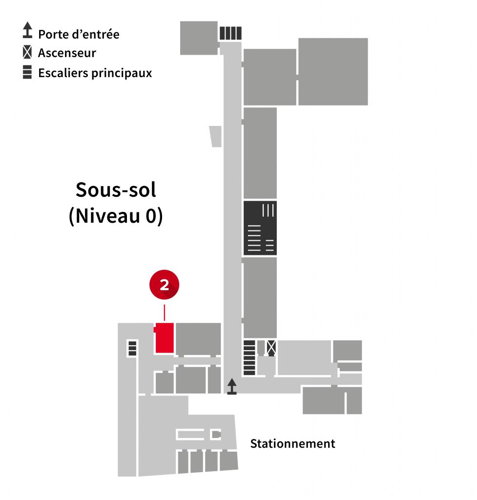 Localisation du numériseur sur les plans du sous-sol de l'Édifice du Vieux-Séminaire de Québec