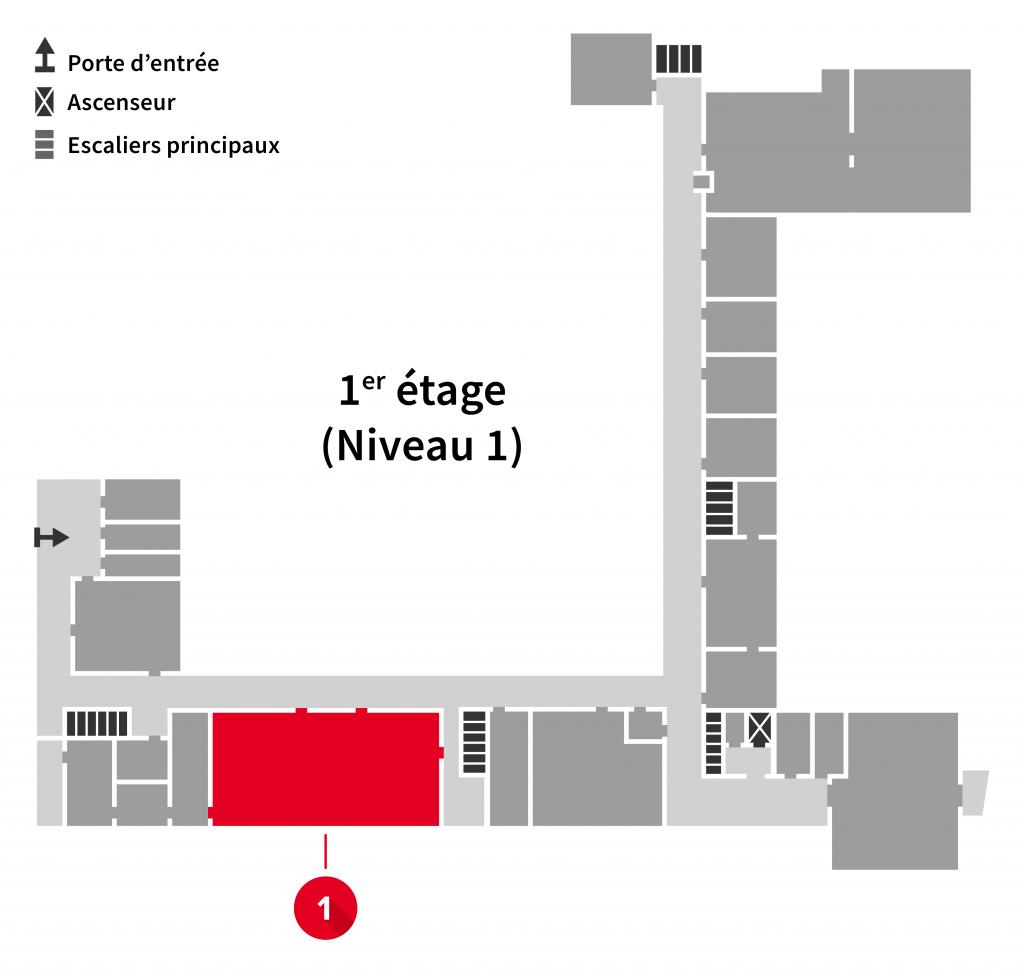 Localisation du numériseur sur les plans du 1er étage de l'Édifice du Vieux-Séminaire de Québec