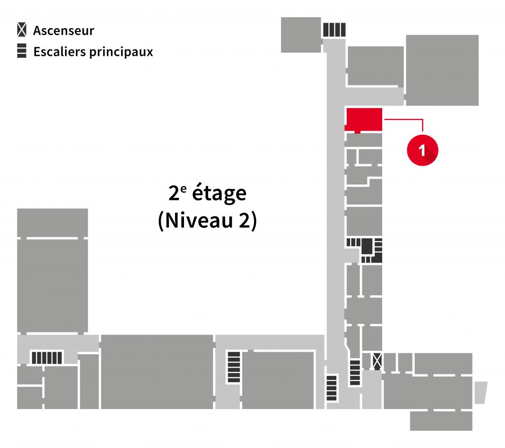 Localisation du local du service informatique les plans du 2e étage de l'Édifice du Vieux-Séminaire de Québec
