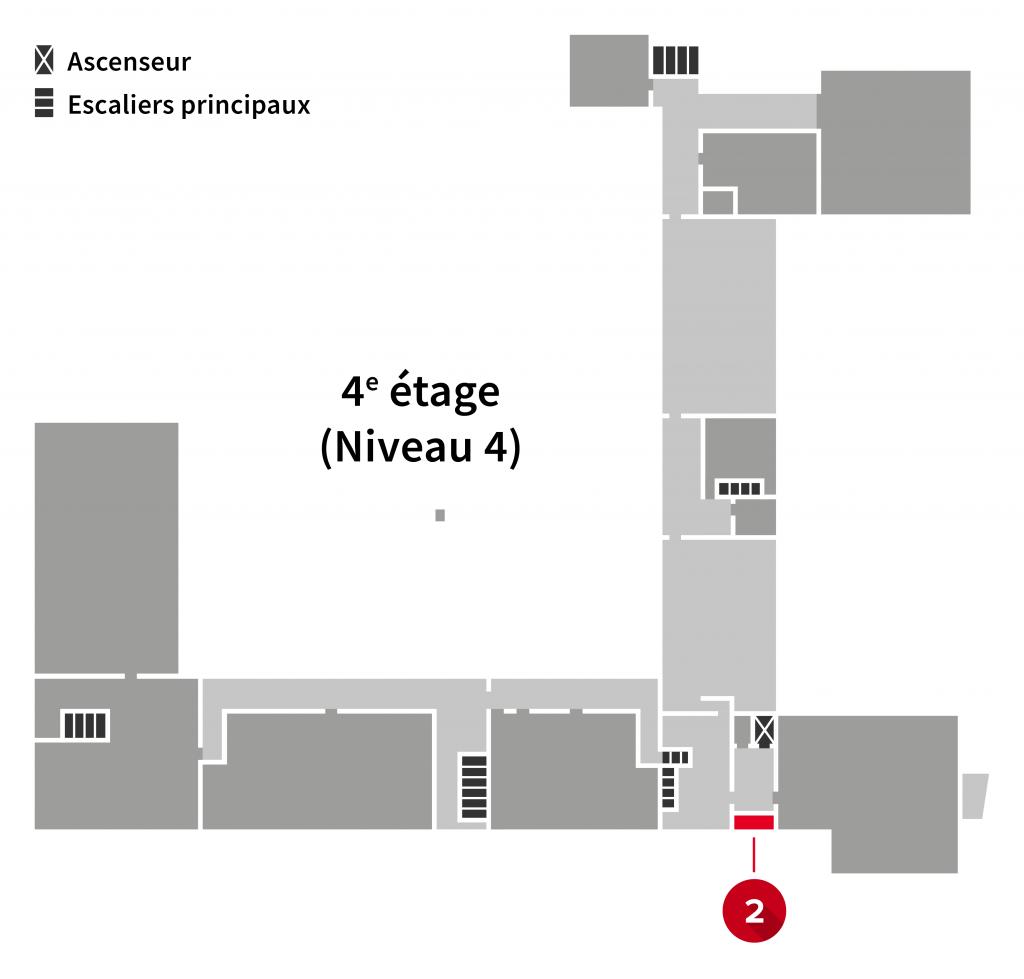 Localisation de l'imprimante au 4e étage l'Édifice du Vieux-Séminaire de Québec
