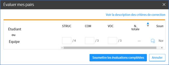 Capture d'écran de la fenêtre «évaluer mes pairs» possédant des critères prédéfinis