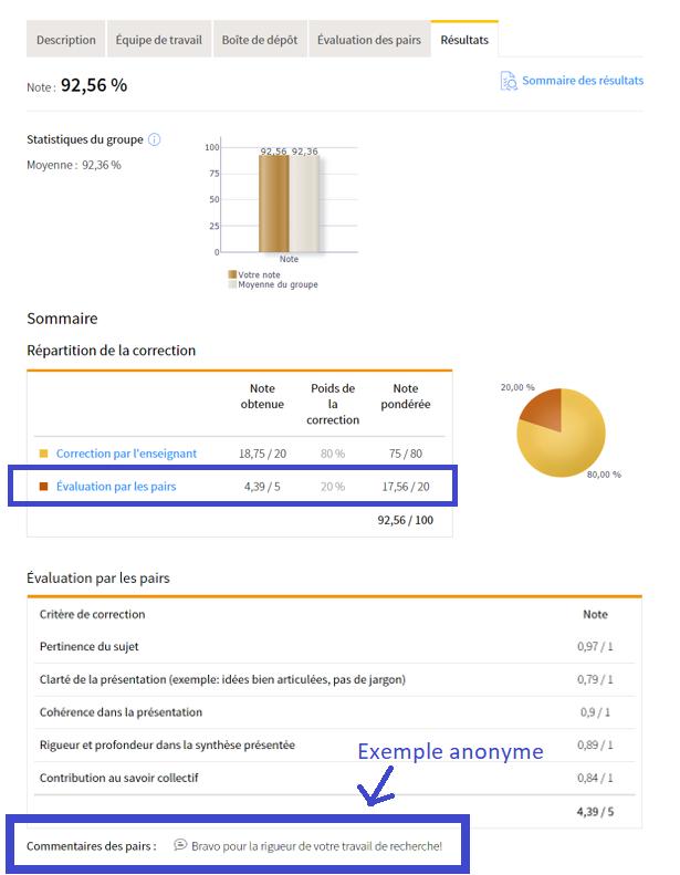 Capture d'écran ciblant l'évaluation des pairs et un exemple anonyme de commentaire de pair