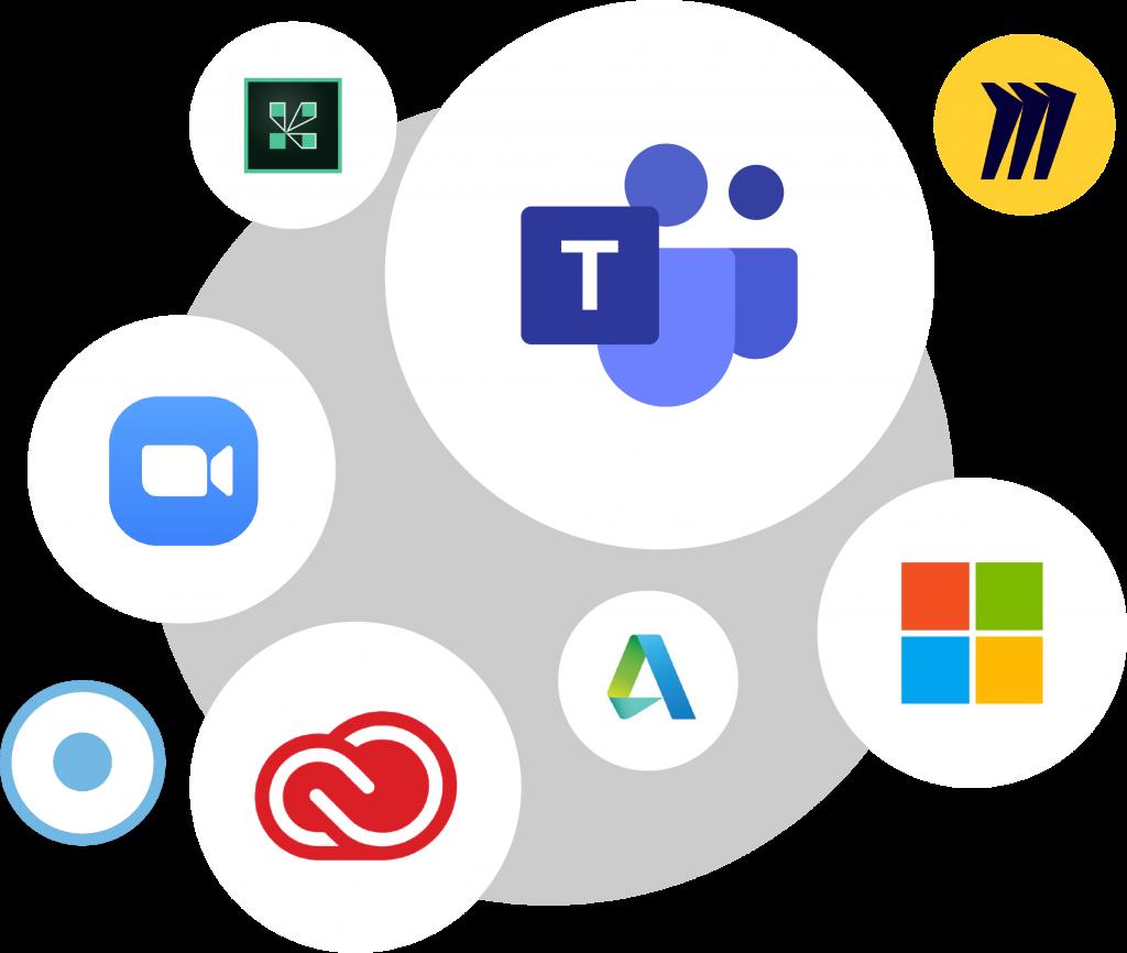Assemblage visuel de différent logos de logiciels à l'intérieur de bulles flottantes